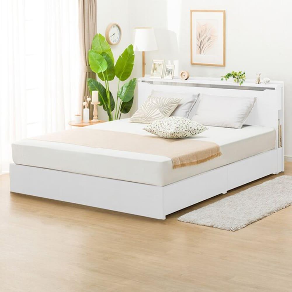 【ニトリ】 クイーン棚付引出し付ベッドフレーム コンソン 浅型 WH ホワイト:お部屋スッキリ!収納付きベッドフレーム