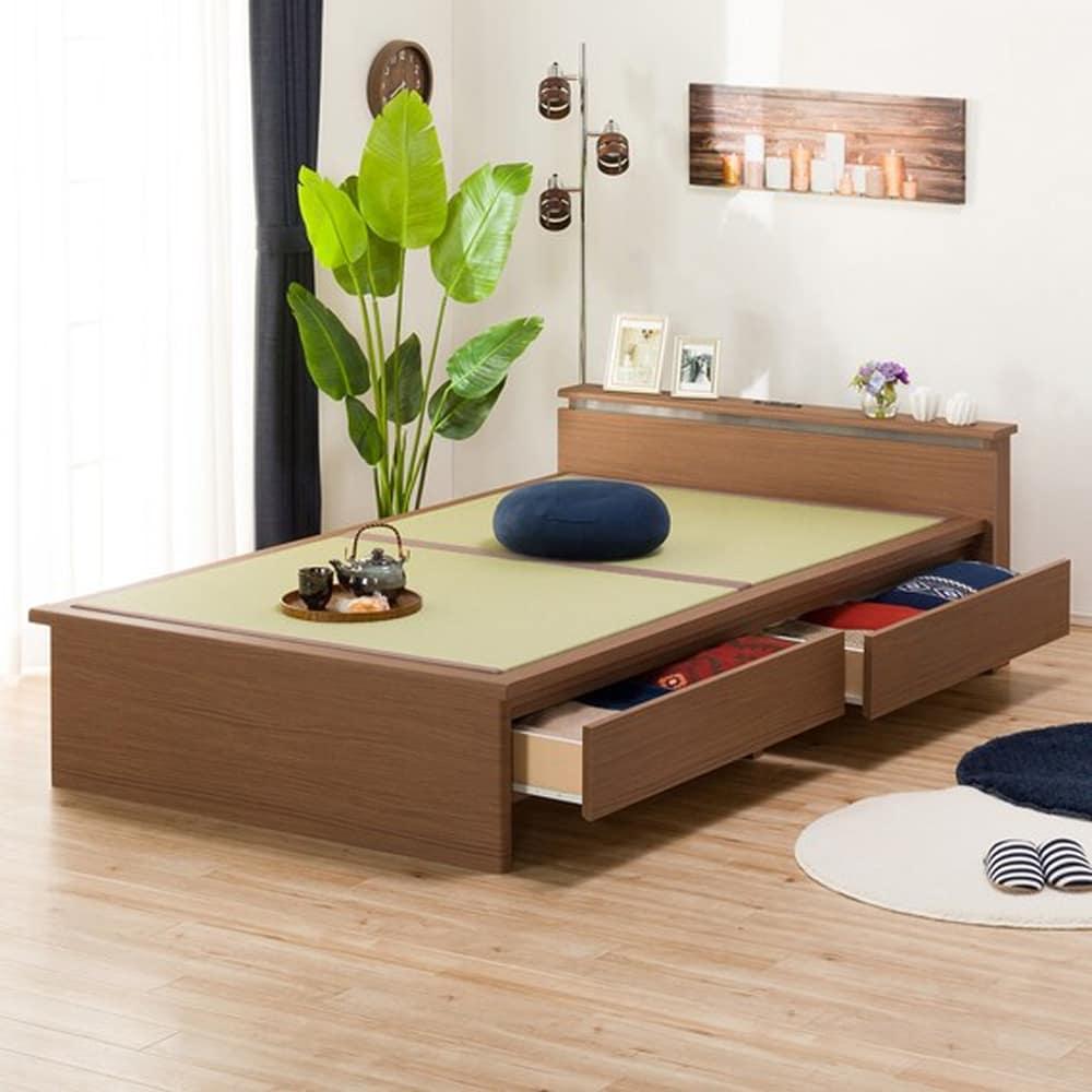 【ニトリ】 セミダブル畳ベッド シデン JP-C38 引出し付き MBR ミドルブラウン:和紙タタミの畳みベッド