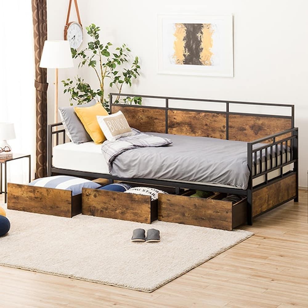 【ニトリ】 デイベッド ベッドフレーム ステイン BK&MBR ブラック:昼間はソファ、夜はベッドとして
