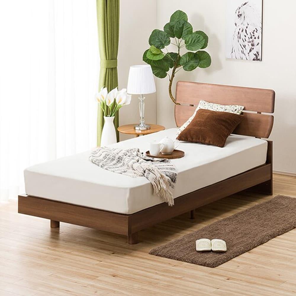 【ニトリ】 シングルベッドフレーム アルナス DL2 MBR ミドルブラウン:天然木の風合いを生かしたシンプルデザイン