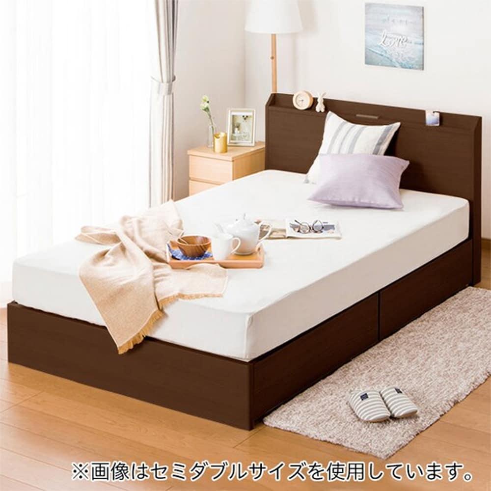 【ニトリ】 シングルベッドフレーム ヴァイン 浅型引出し DBR ダークブラウン:ベッド下収納でデッドスペースを活用