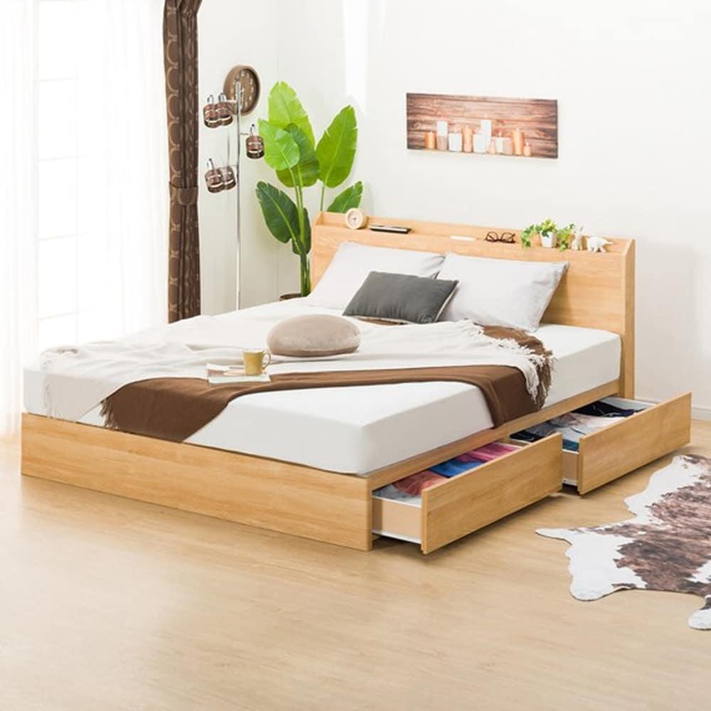 【ニトリ】 クイーンベッドフレーム ヴァイン 浅型引出し LBR ライトブラウン:ベッド下収納でデッドスペースを活用