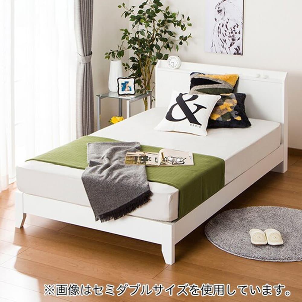 【ニトリ】 クイーン宮付きベッドフレーム ヴァイン−S LEG WH ホワイト:スッキリとしたフラットヘッドボード