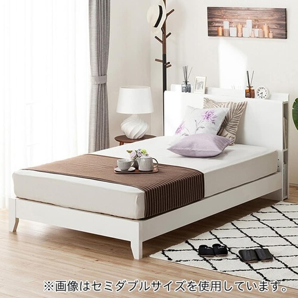 【ニトリ】 クイーン宮付きフレーム カイト3−S LEG WH ホワイト:手元に必需品を置けるベッドフレーム