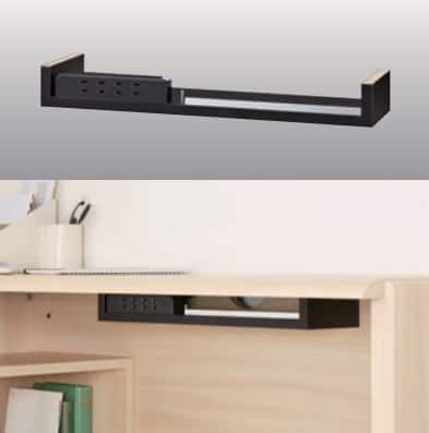 ニューワークスタジオ 薄型デスク DD−901−MR:オプションアイテムの使いやすい4口コンセント
