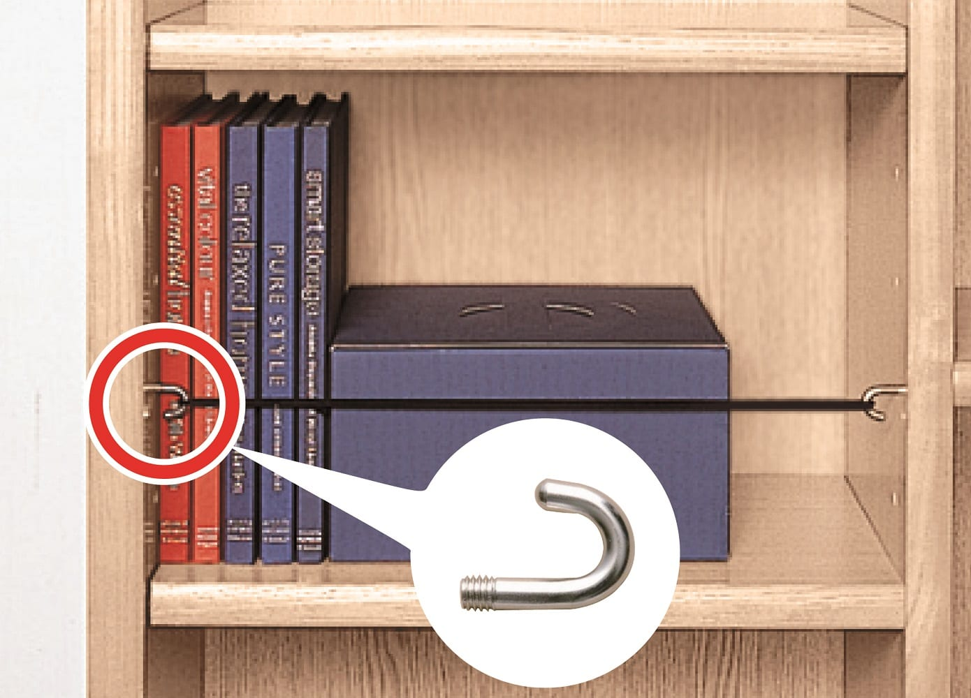 小島工芸 書棚 アコード75L(ホワイト):収納物飛び出しを防ぐアコード専用フック