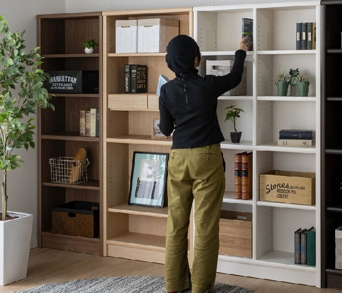 小島工芸 書棚 アコード85H(チェリーナチュラル):豊富なサイズバリエーション