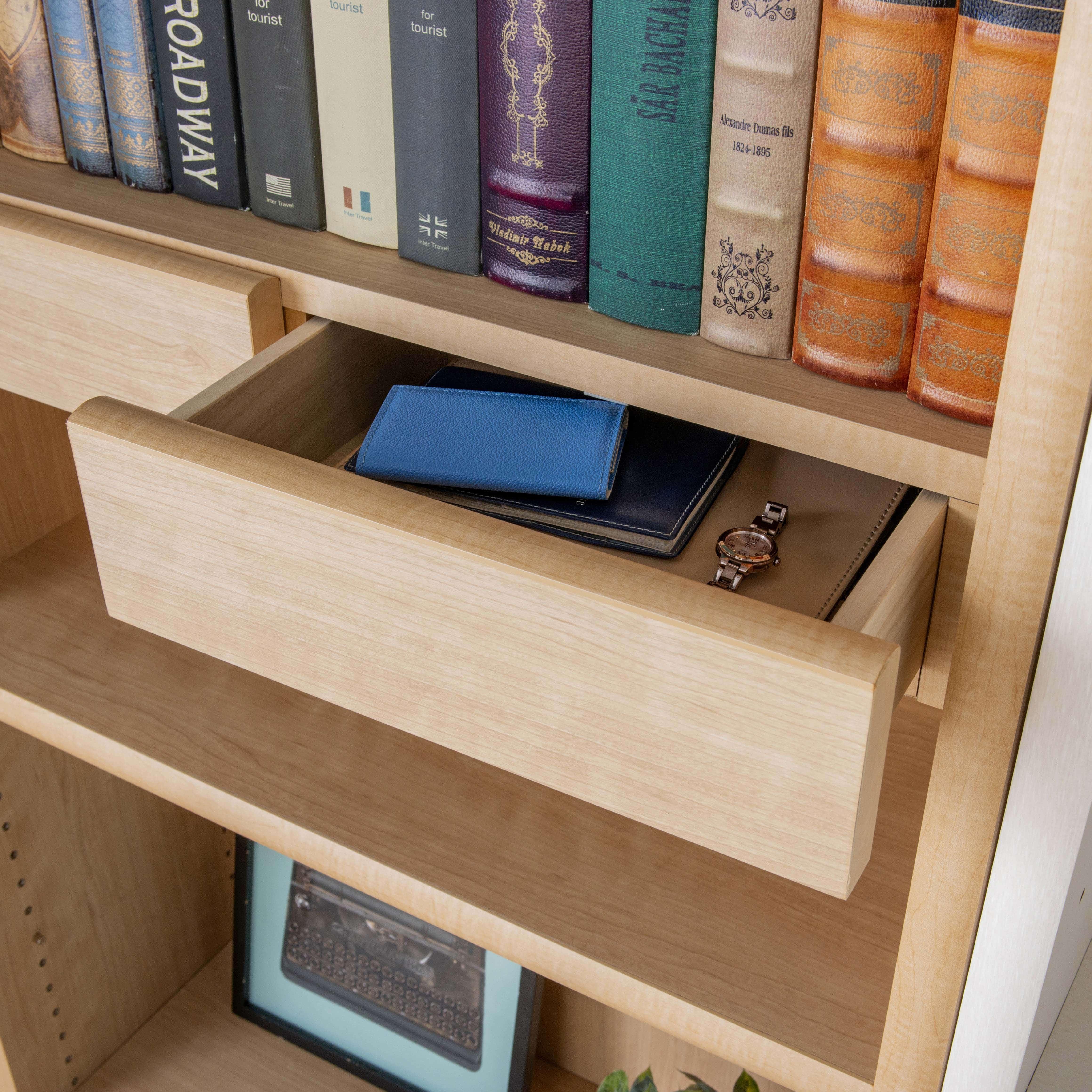小島工芸 書棚 アコード90H(チェリーナチュラル):収納の幅を広げるオプション引き出し