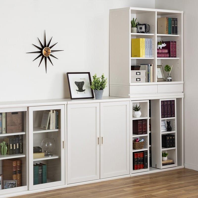 小島工芸 書棚 オファー120引戸(ホワイト):同シリーズで組み合わせを楽しめる!