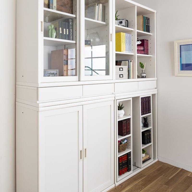 小島工芸 書棚 オファー120スライドオープン(ホワイト):選べる扉は2種類をご用意!
