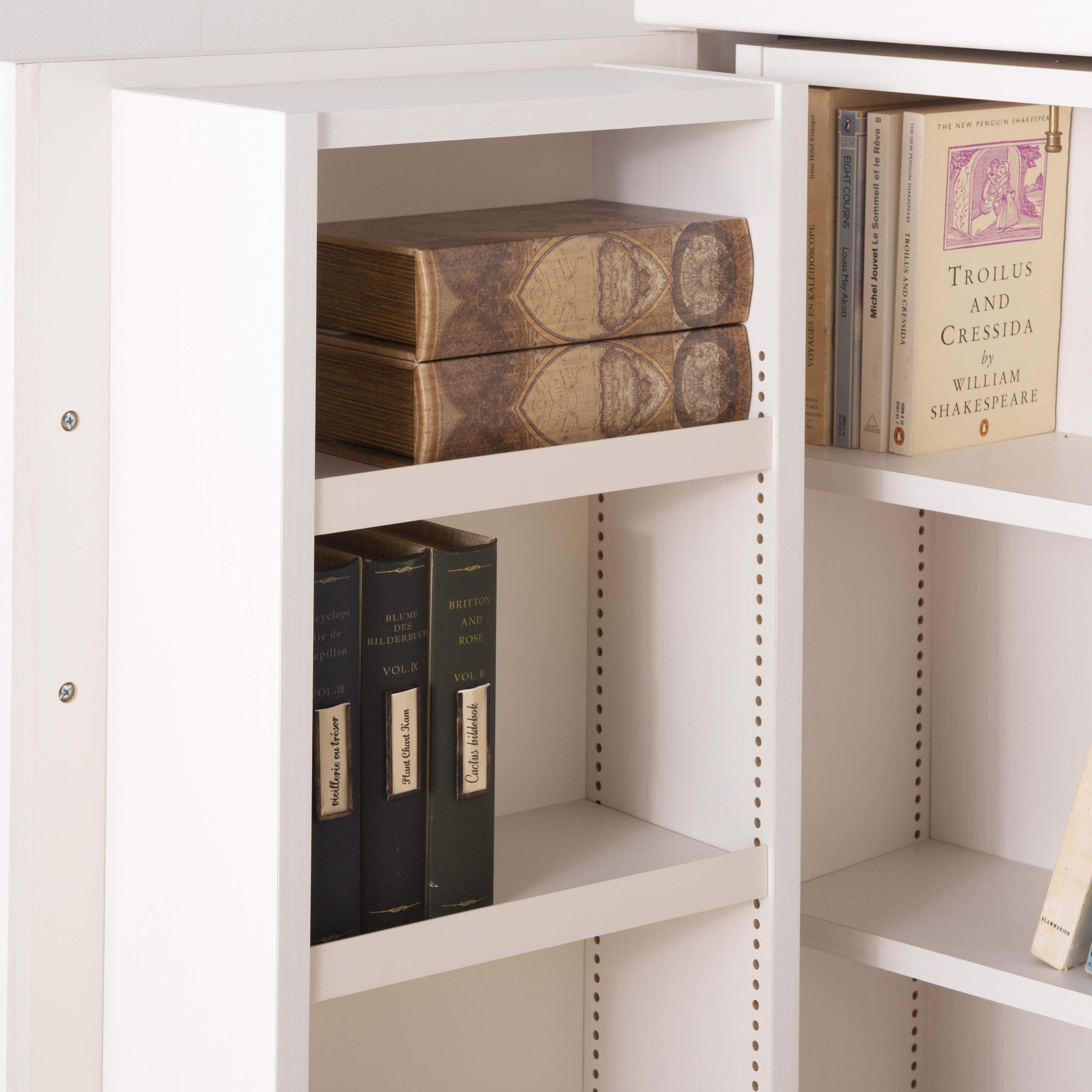 スライド書棚 プラス80H WH木目:デッドスペースを活用した驚きの収納量