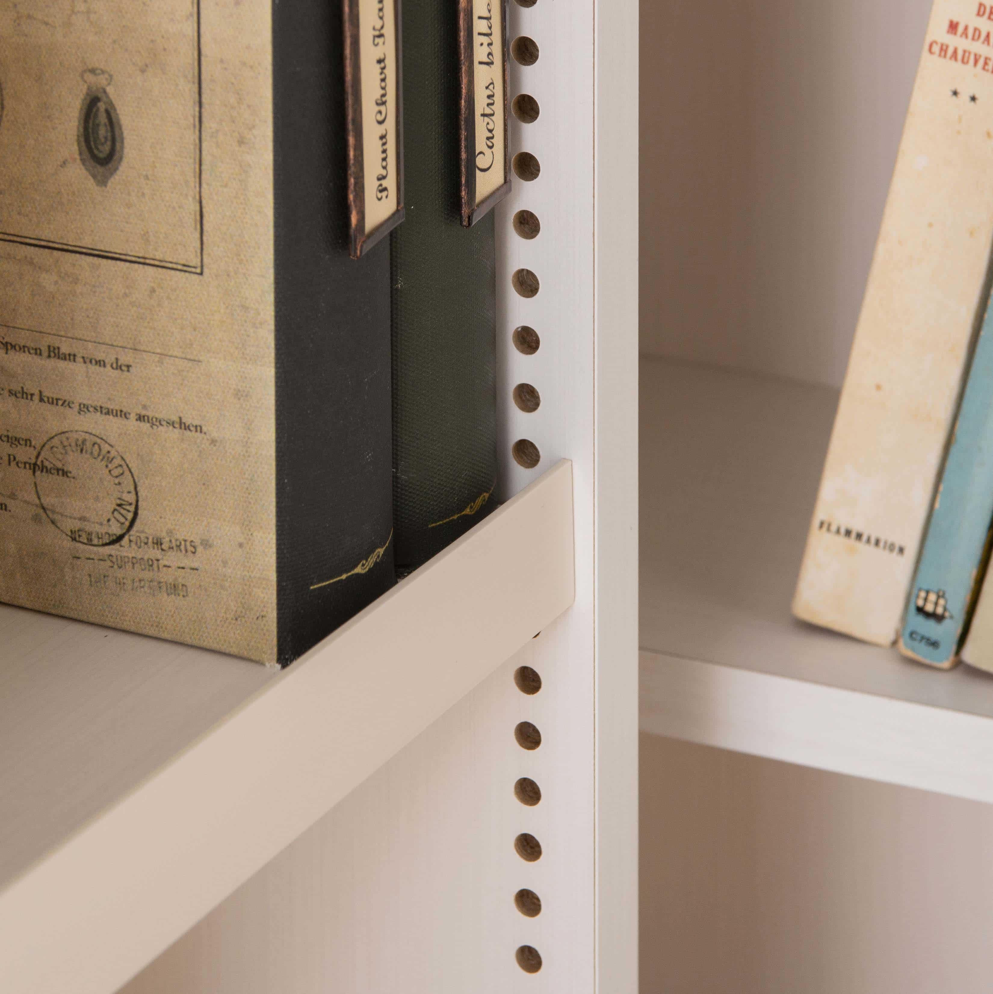 スライド書棚 プラス80H WH木目:文庫やDVDを守るストッパー付き