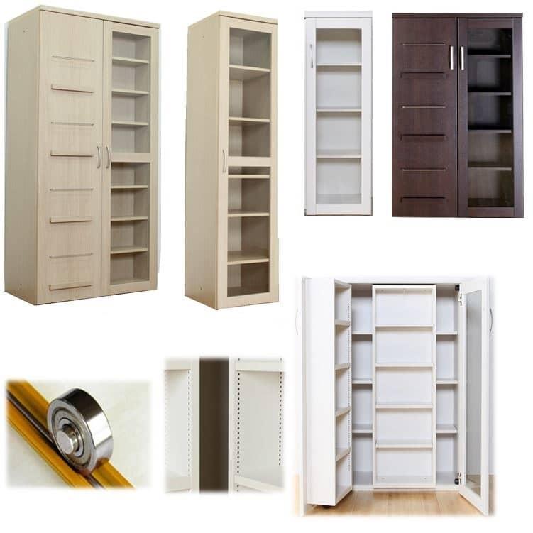 スライド書棚 プラス80H WH木目:安心の国内生産