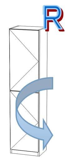 壁面収納 スリットプラス  40奥浅 R扉付19cm ウォールナット