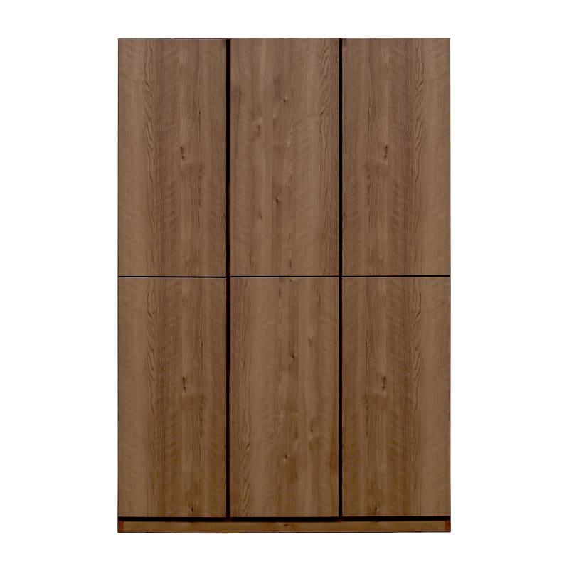 壁面収納 スリットプラス  120奥浅 扉付19cm ウォールナット:壁面収納