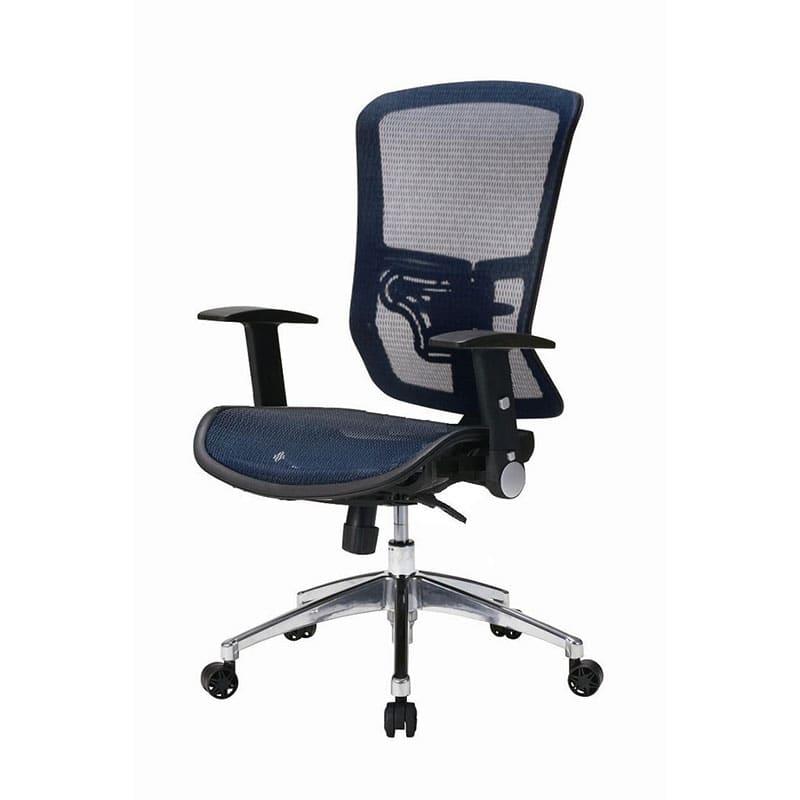 デスクチェア JG-11384BL(ブルー):背と座がメッシュの快適な座り心地