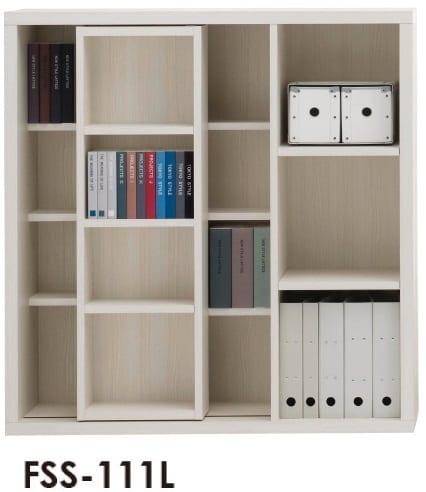 スライド書棚  ニューラチスFSS−111L ホワイトウッド:書棚 ニューラチス ※小物類はイメージです