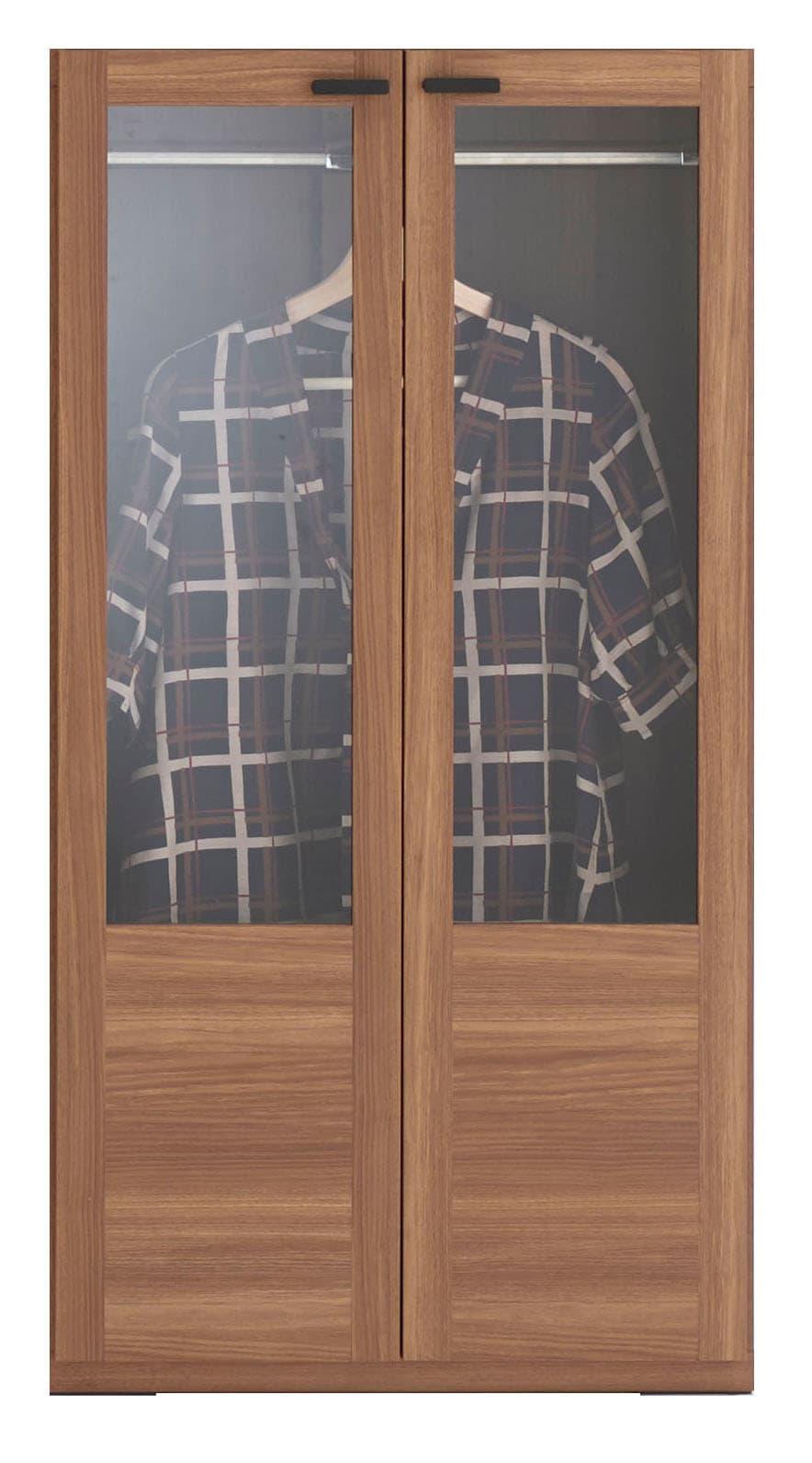 壁面収納 GCD−60洋服ガラス戸タイプ(WN)ウォールナット:壁面収納 GCD−60洋服ガラス戸タイプ(WN)ウォールナット