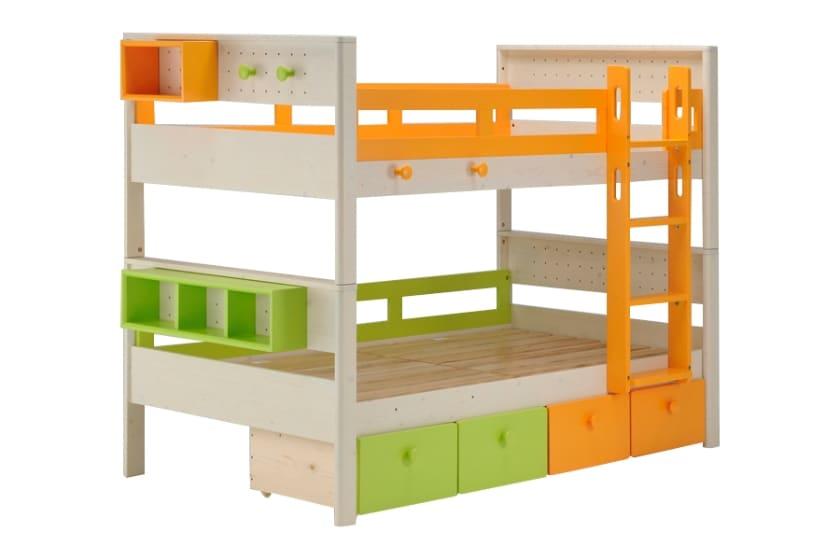 二段ベッド ヒュッテ(本体:ホワイト/パーツ:オレンジ・グリーン)