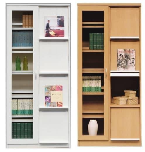 書棚 スカーラ 90Lフリーボード (ダークブラウン):魅せる収納・隠す収納の組み合わせ