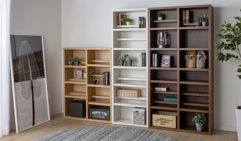 書棚 スカーラ 40Hフリーボード (ダークブラウン):様々なインテリアにフィットするシンプルカジュアルスタイル