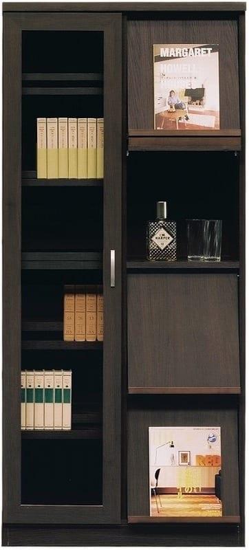書棚 スカーラ 80Hフラップ (ダークブラウン):様々なインテリアにフィットするシンプルカジュアルスタイル
