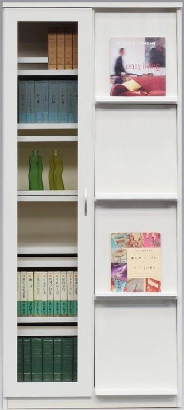 書棚 スカーラ 80Hフラップ (ホワイト):様々なインテリアにフィットするシンプルカジュアルスタイル