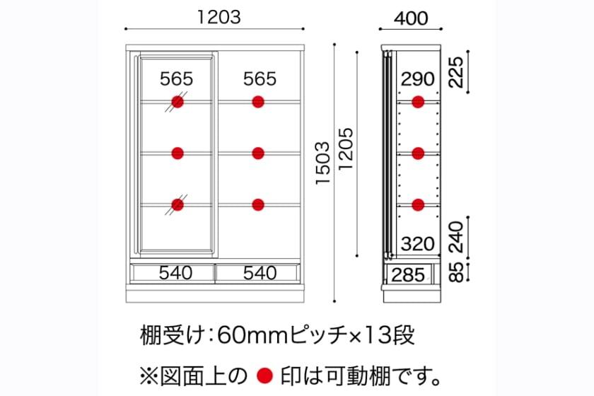 小島工芸 書棚 スペースボード�V 120ロー(SP-120L/ミディアム)