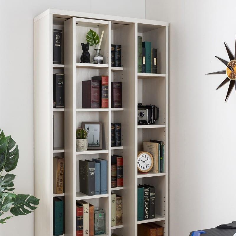 スライド書棚  エース シングルスライド 白木目:サイズを気にせずたくさんの本を収納可能!