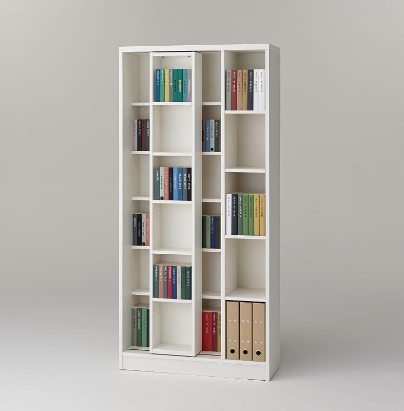 スライド書棚 エース シングルスライド WH:収納力バツグン!スライド書棚 小物類はイメージです。