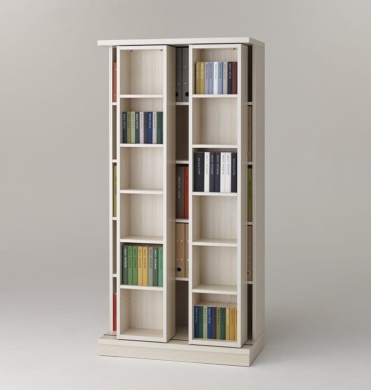 スライド書棚 エース ダブルスライド 白木目:収納力バツグン!スライド書棚 小物類はイメージです。