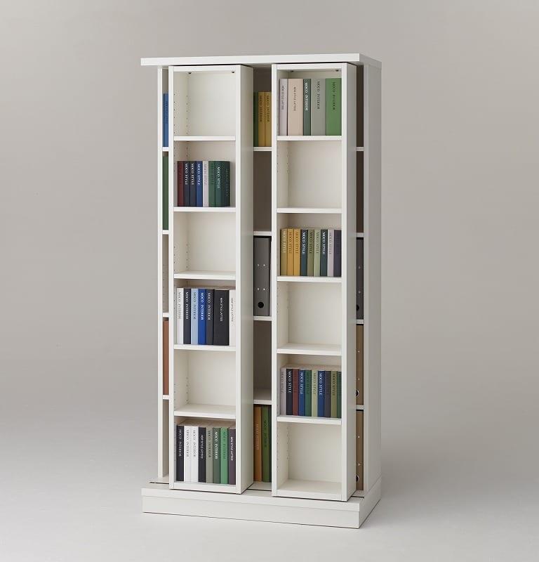 スライド書棚 エース ダブルスライド WH:収納力バツグン!スライド書棚 小物類はイメージです。