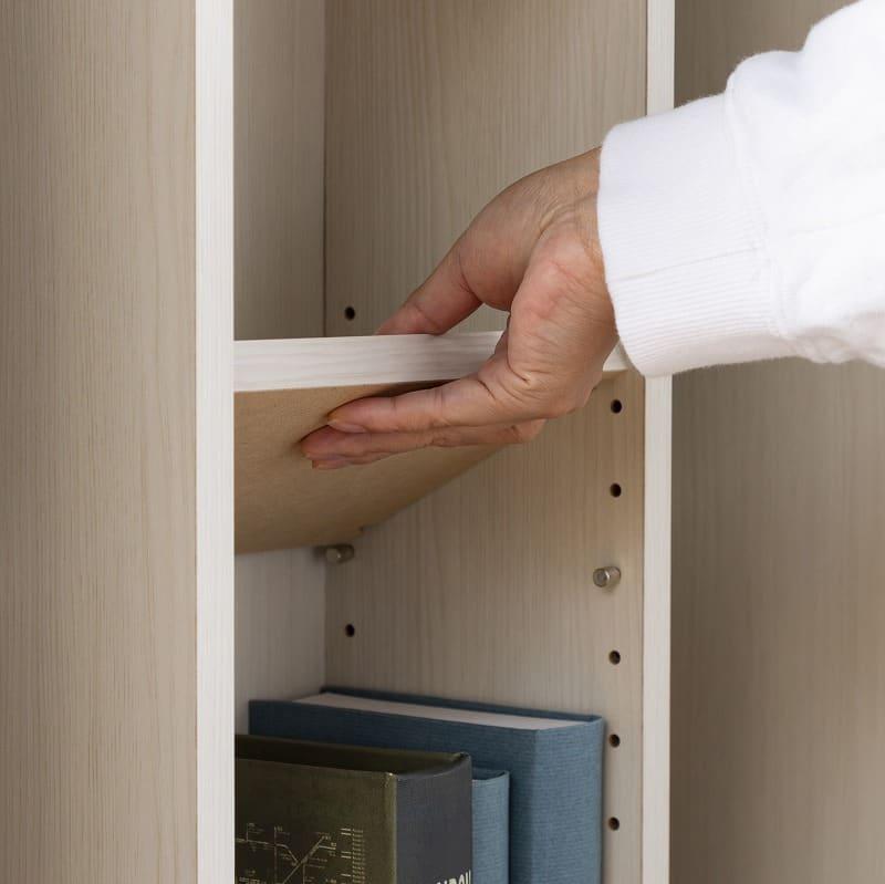 スライド書棚 エース ダブルスライド WH:棚板は3cmピッチで高さ調節OK