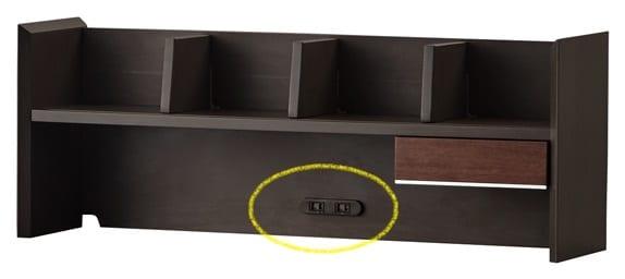 120デスク ワイズKWD-633BW:コンセント付きブリッジ