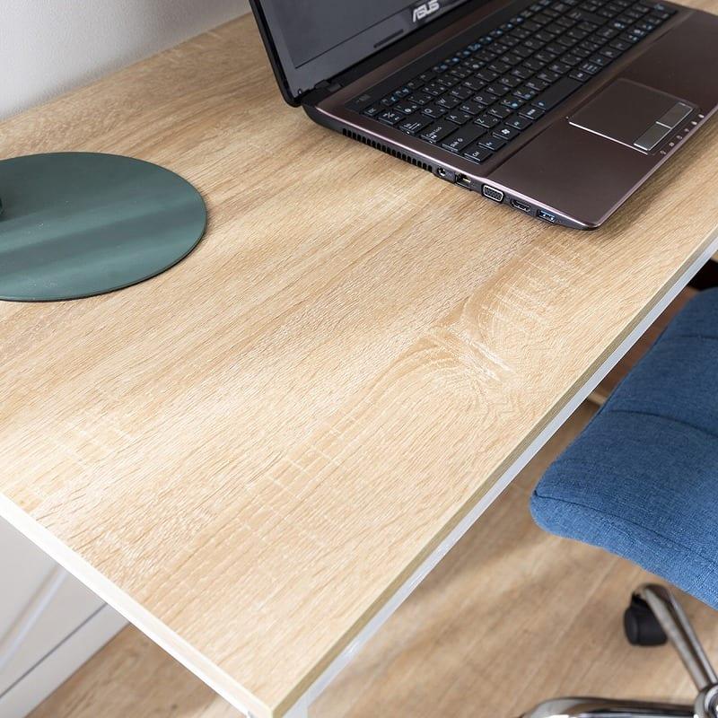 キャスター付きデスク ターブルW84C BK BK・NA:天板は木目調のメラミン化粧板を使用