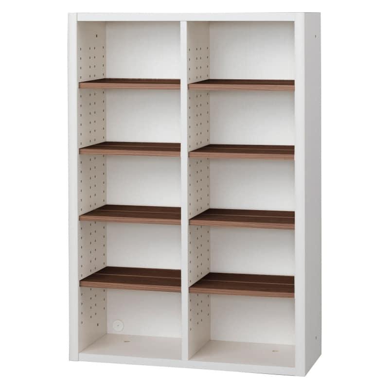 書棚 EP−75オープンAホワイト+モカ:書棚