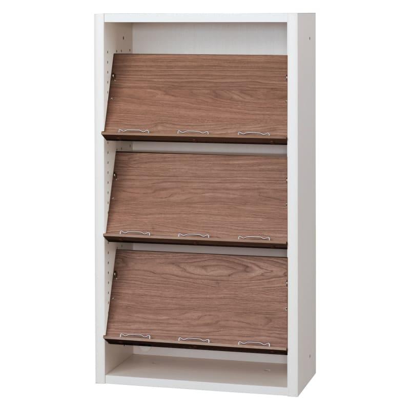 書棚 EP−60オープンCホワイト+モカ:書棚