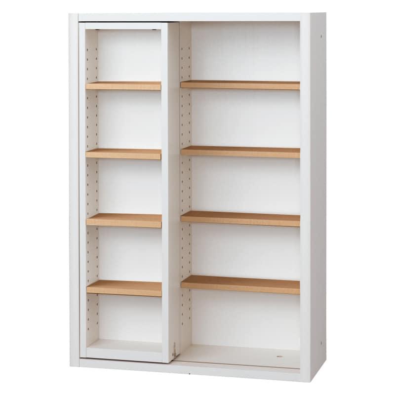 書棚 EP−75スライドFホワイト+チェリー:書棚