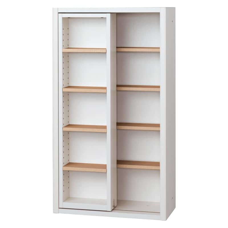 書棚 EP−60スライドFホワイト+チェリー:書棚