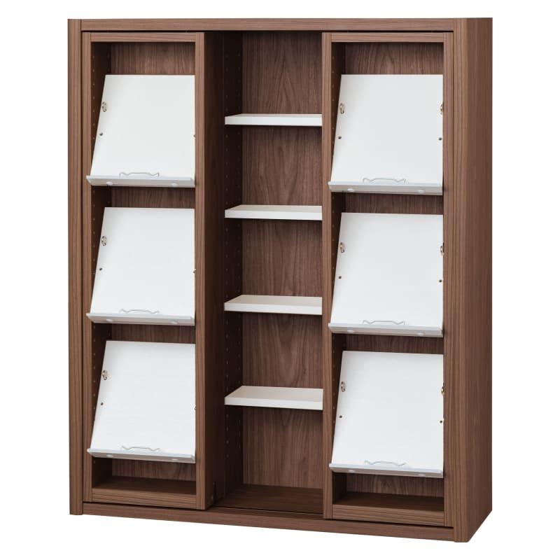書棚 EP−90スライドGモカ+ホワイト:書棚