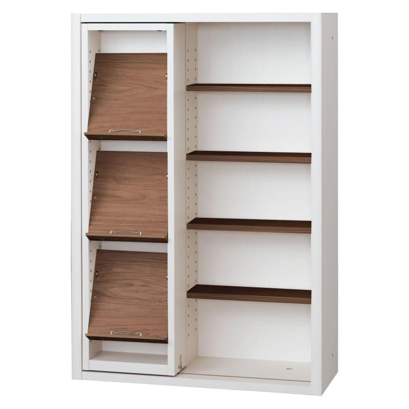 書棚 EP−75スライドGホワイト+モカ:書棚