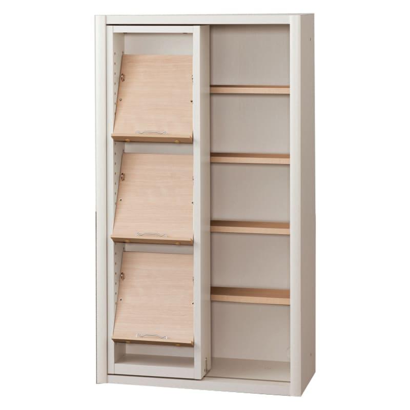書棚 EP−60スライドGホワイト+チェリー:書棚