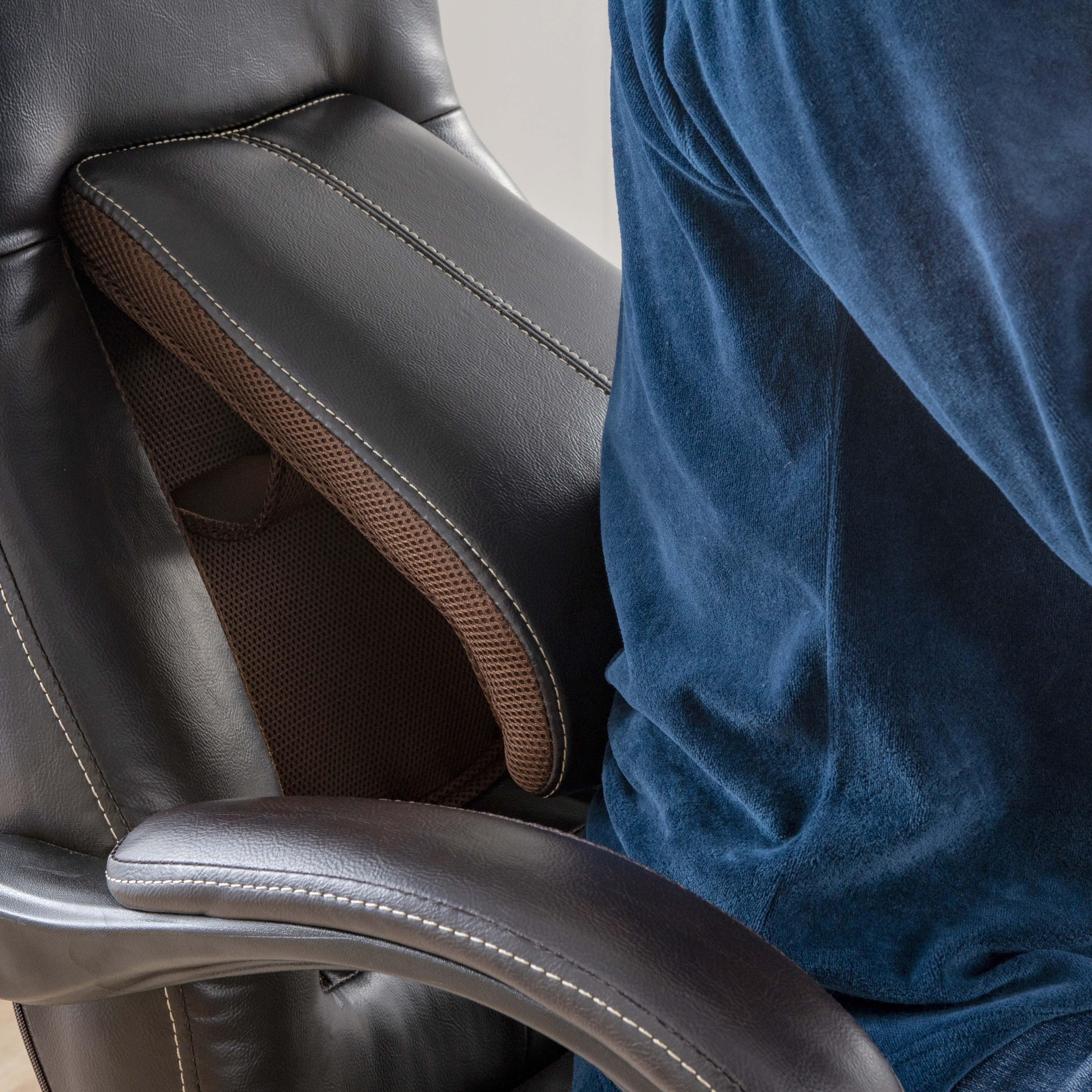 デスクチェア ソレード BK:腰専用の背もたれリクライニング
