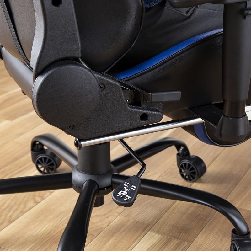 デスクチェア ソアラ(布ブルー):座面は昇降機能付き
