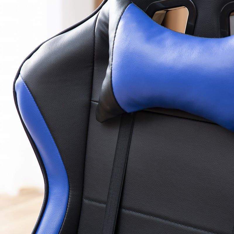 デスクチェア ソアラ(布ブルー):かっこいい存在感を放つ合成皮革タイプ