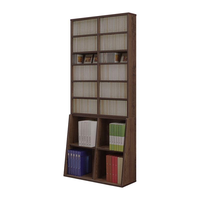 書棚 コミックタワー 90上下段セット(BR):薄型省スペースタイプの書棚「コミックタワー」