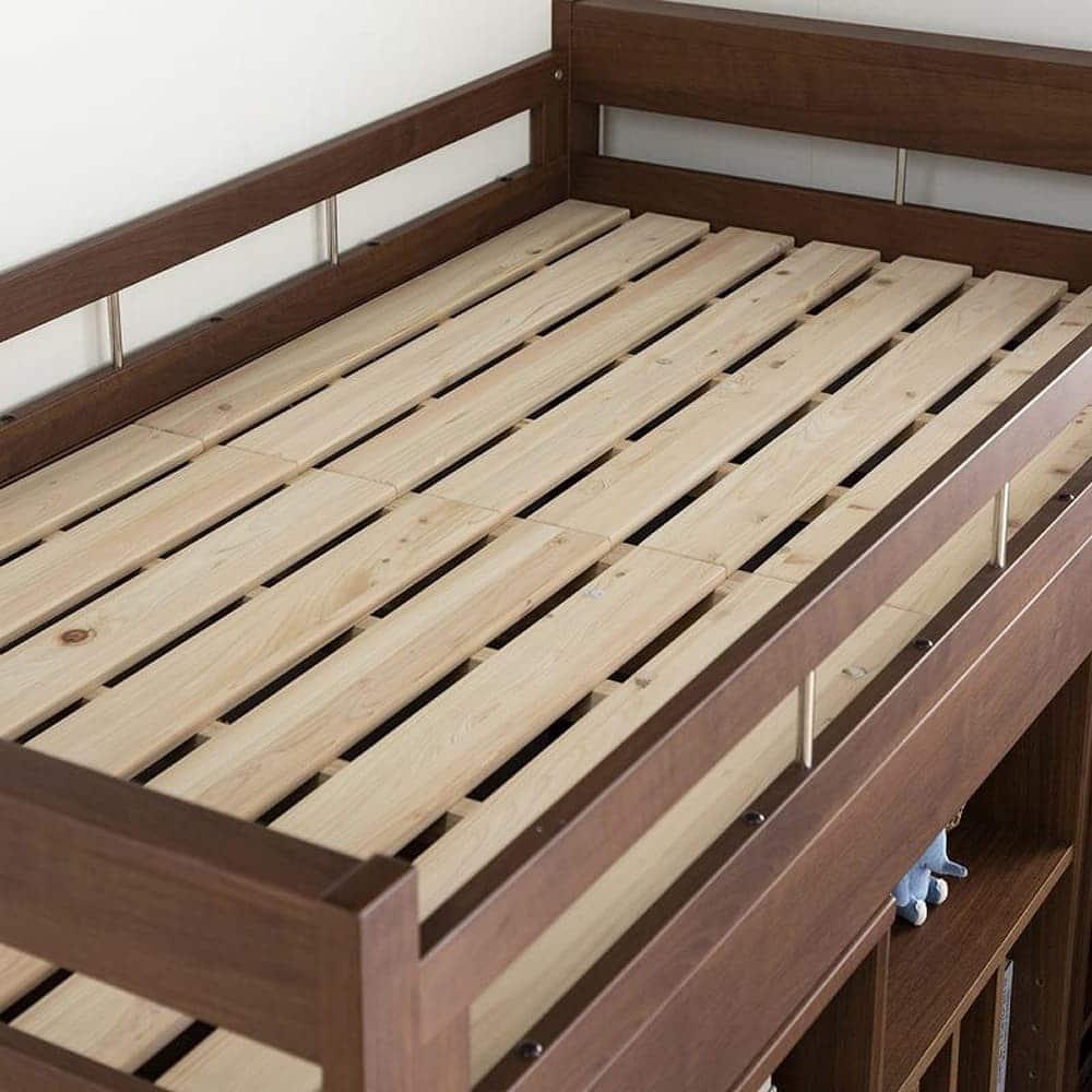 システム収納 コネクト�Y ラック 幅60cm WH木目:ベッドはお子様の寝顔が見られるミドルタイプ