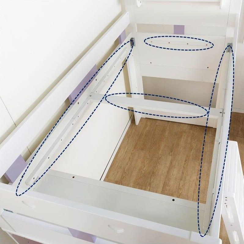 【シマホ限定】システムベッド キュートガール SB−SU19W:四方床板受け