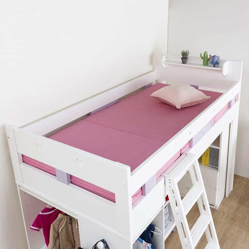 【シマホ限定】システムベッド キュートガール SB−SU19W:シングルベッドとしても使用OK!