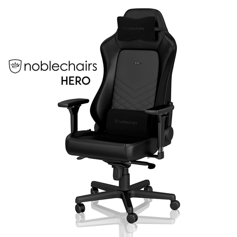 ゲーミングチェア ノーブルチェア HERO NBL−HRO−PU−BLA−SGL ブラック:クールなデザインと座り心地